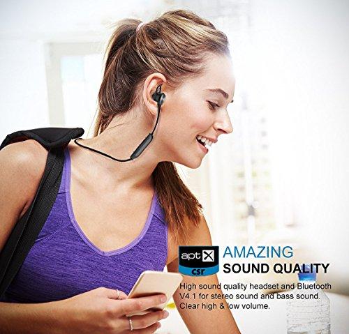 Vigorun Bluetooth Kopfhörer Y3 Kabellos Stereo Ohrhörer In-Ear Magnetisches Schnurlose Sport Ohrhörer Bluetooth V4.2 IPX6 Wasserdicht CVC 6.0 Noise Cancellation, für Sport und Workout(Schwarz) - 8