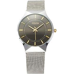 JULIUS JA577M Men Classic Casual Stainless Steel Analogue Quartz Wrist Watch (Black)