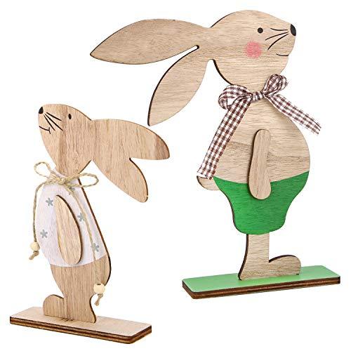 Howaf set di 2 decorazioni di pasqua coniglietto di legno, conigli decorativo di pasqua ornamenti per pasqua decorazioni casa o feste regalo di pasqua