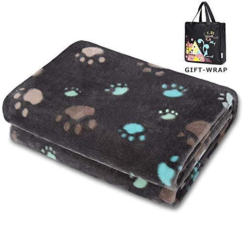 Allisandro® Super Softe Warme und Weiche Decke für Haustier Hundedecke Katzendecke Fleece-Decke/Tier Schlafdeck Überwurf für Hundebett Sofa und Couch- Gr. 150x100cm , Grey