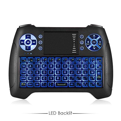 Mini Clavier sans Fil, iLifesmart Mini Clavier Français (AZERTY) Wireless 2.4GHz avec Touchpad Rétro-éclairé Bleu pour Smart TV, HTPC, PC, Android TV Box, Xbox 360, PS3