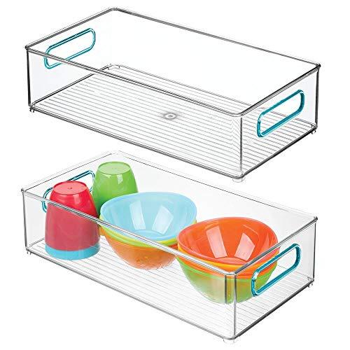 mDesign 2er-Set Kinderzimmer Organizer - breite Sortierbox mit praktischen Griffen - BPA-freier Kunststoffbehälter für Spielzeug, Windeln, Stofftiere & Co. - durchsichtig/blau