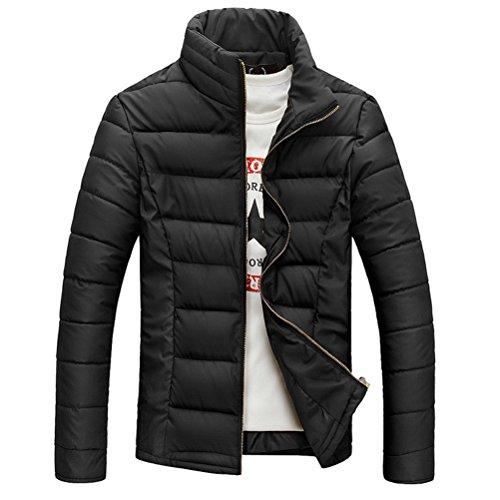 Zhuhaitf capispalla Men's Stand Collar Winter Jacket Coat Warm Outwear Windbreaker Jacket Solid Color