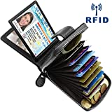 Porte Carte de Crédit Cuir RFID Porte Monnaie et Cartes avec 14 Fentes pour Cartes et 4 Fentes de Photo, Porte-Carte de Visite Petit Portefeuille Porte Cartes en Cuir pour Femmes Hommes (Noir-9)