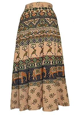 MRV FASHION Women's Cotton Long Skirt (MIRAVWRAP1, Multicolour, Free Size)