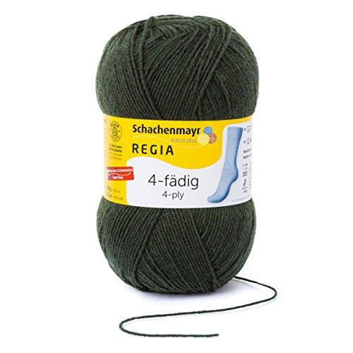 REGIA 4-fädig Uni 9801268-01994 loden Handstrickgarn, Sockengarn, 100g Knäuel Loden Green Wool