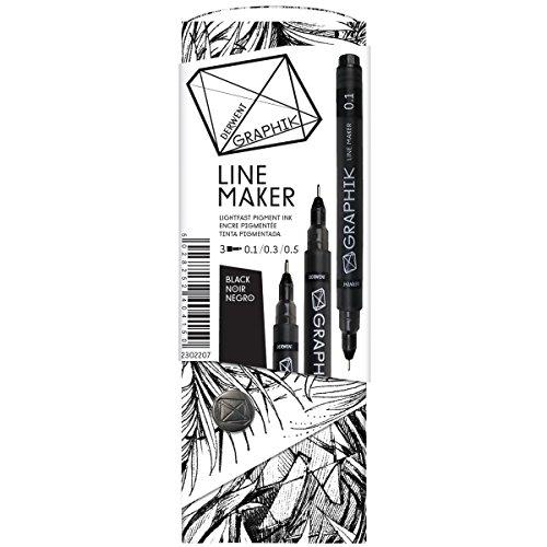 Preisvergleich Produktbild Derwent Graphik Line Marker Set 3/Pkg-Black