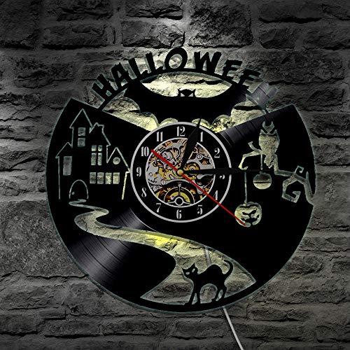 Menddy Halloween Schallplatte Wanduhr Kreative Hauptdekoration Mit Led-Licht 12 Zoll