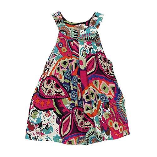 Amlaiworld Sommer Bunte Geometrie drucken Neckholder Kleid Party Mandala Ärmellos Kleider Mode Strand Mädchen locker Oberteile niedlich Dress Kleidung,1-8 Jahren (4 Jahren, Rot)