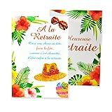 afie 69-3933 Carte Dépliante Départ Heureuse Retraite - Fleurs Palmiers Soleil Cadeaux Fête...