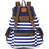 Promithi Unisex Travel Stripe Backpack Canvas Leisure Bags Schooolbag Rucksack (blue2)