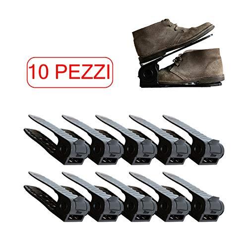 Favod Organizzatore Portascarpe   Salvaspazio Scarpe Regolabile in Plastica Durevole   Set da 10 Pezzi Neri   Perfetto per Scarpiere/Armadi/Mobili