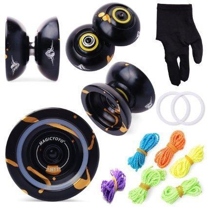 Originale yo-yo magico n11 lega di alluminio professionali palle yo-yo con 5 stringhe e guanti giocattolo bambini presenti ragazze ragazzo regalo, oro e nero