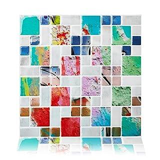 cocotik Selbstklebendes Wand Fliesen Abziehen und Aufkleben Duett für Küche, 25,4x 25,4cm 4Stück