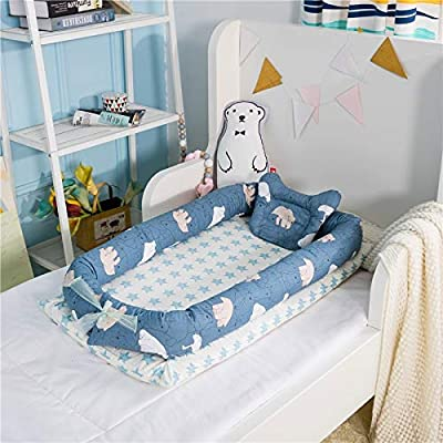 YANGGUANGBAOBEI The All In One Baby Lounger,Breathable Foam Nest For Newborn And Babies - For Bed Travel Bed Safer Comfortable Co-Sleeping,D