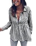 ShallGood Damen Gestreifte Bluse mit Ballon-Ärmeln Damen Bluse mit Schleifen Schwarz DE 36