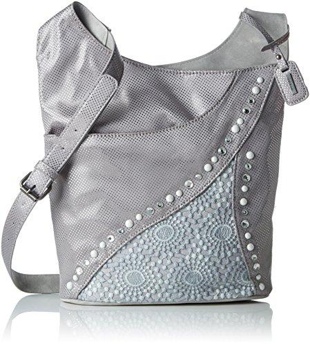 Rieker Damen H1438 Umhängetasche, Grau (Grau-Silber/Grey), 10x30x30 cm (Verschönert Tasche)