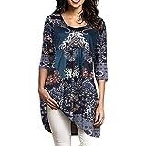 Womens Half Sleeve Floral Printed Tunic Tops, Kanpola Ladies Loose Circular Neck T Shirt Round Collar Blouse