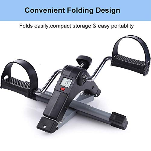 MELANA Fitness Cycle – Foot Pedal Exerciser – Foldable Portable Foot, Hand, Arm, Leg Exercise Pedaling Machine – Folding Mini Stationary Bike Pedaler, Fitness Rehab Gym Equipment for Seniors, Digital
