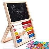 jerryvon Ábaco Infantil Montessori de Madera, Puzzle Infantil Magnético Tablero de Doble Cara con Numero y Tangram Multiuso Sketchpad Juguetes Educativos para Niños 3 4 5 6 Años