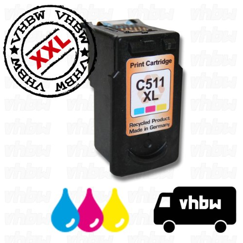 vhbw Druckerpatrone Tintenpatrone farbig für Canon Pixma ip2700, ip2702, MP240, MP250, MP252, MP260, MP270, MP272, MP280 wie Canon CL-511.