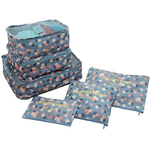 NOVAGO Ensemble complet de différents sacs, organisateurs de valise et voyage (Fleur / Bleu)