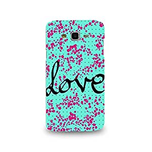 Mikzy Love Written On Blue Background And Pink Circles Printed Designer Back Cover Case for Samsung J7