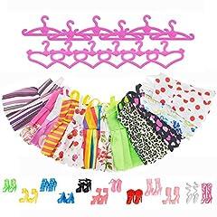Idea Regalo - Asiv 12 Abiti 12 Paia di Scarpe 12 Rosa Grucce per Barbie Accessori Regali per bambino (36pz)