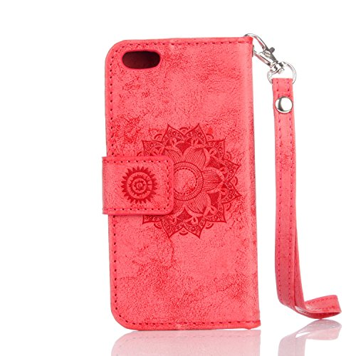 Für IPhone 5 & 5s & SE Fall, Mandala Blume geprägtes Muster Schutzhülle Premium PU Leder Folio Flip Stand Brieftasche Case Pouch mit Lanyard & Halter & Card Cash Slots ( Color : Gold ) Red