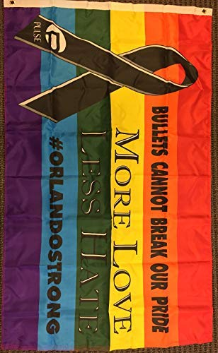 3x5 Black Ribbon Rainbow Pride Flag LGBT Orlando Strong Pulse Gay Lesbian Banner