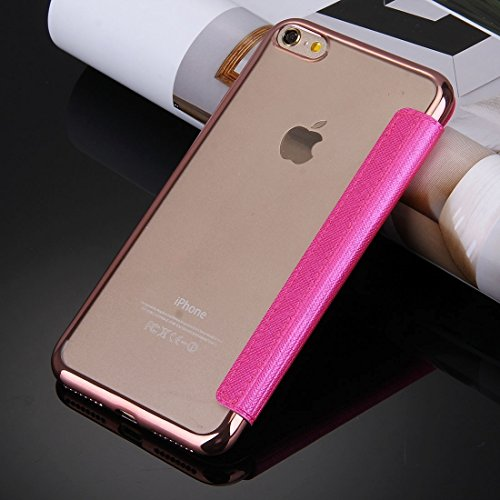 IPhone 6 & 6s Fall Cross Texture Galvanisieren TPU Back Cover Horizontale Flip Leder Tasche mit Call Display ID für iPhone 6 & 6s by diebelleu ( Color : Rose gold ) Magenta