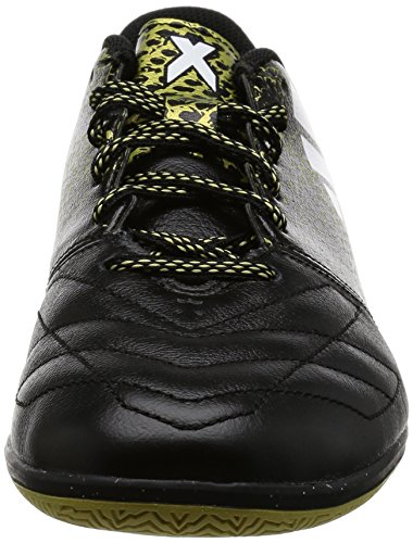 adidas X 16.3 In Leather, Scarpe da Calcio Uomo Nero (Core Black/Ftwr White/Gold Met.)