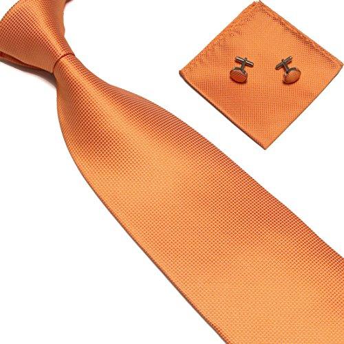 ZENUTA Conjunto de corbata para hombres Corbata de cuadros escoceses Conjunto de seda de poliéster con gemelos de pañuelo