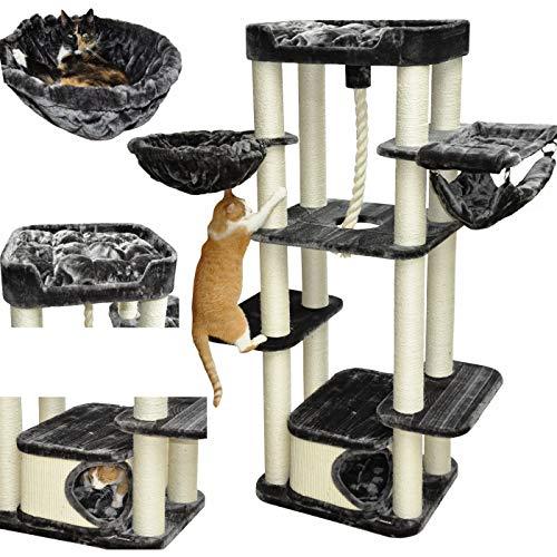nanook Kratzbaum grau XL Katzenkratzbaum Attila XL Liegemulde Gesteppt - XL Katzenhöhle mit Teppich - Hochwertiger Plüsch - für große Katzen - 178 cm
