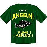 spaßiges Sprüche Tshirt Bin am Angeln! Gr XXL Fb grün