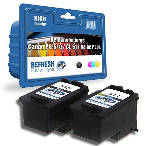 Doppelpack - PG-510/CL-511 (Schwarz 2970B001AA/Dreifarbig 2972B001AA) Wiederaufgefüllt HOHE KAPAZITÄT Patronen für die verwendung mit Canon Pixma MP240, MP260, MP480 Drucker - Refresh Cartridges