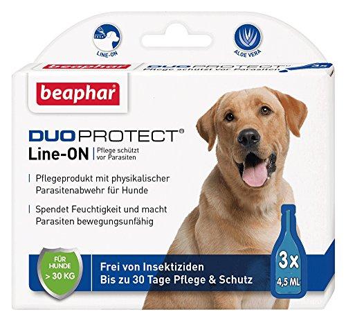 DuoProtect Hund (> 30 kg) | Pflege & Schutz für Hunde | Physikalische Parasitenabwehr | Mit Dimeticon & Aleo Vera | Wirkt bis zu 30 Tage | 3 x 4,5 ml -