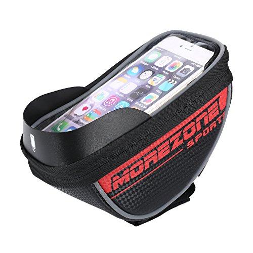 """Fahrradtasche Rahmentaschen, MOREZONE Fahrrad Rahmentasche Frarradschnalletasche mit zwei Fäche, geeignet für Handy mit Größe unten 5,5"""", Farhradlenkertasche Fahrradtasche Lenker Red"""
