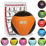 POWRX Medizinball inkl. Workout I Gewichtsball 1-10 kg versch. Farben I Medizin Fitnessball rutschsicher Studioqualität (3 kg/Orange)