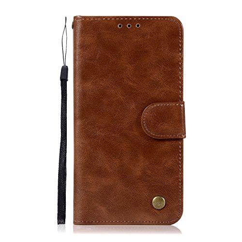 Chreey HTC One X10 Hülle, Premium Handyhülle Tasche Leder Flip Case Brieftasche Etui Schutzhülle Ledertasche, Braun
