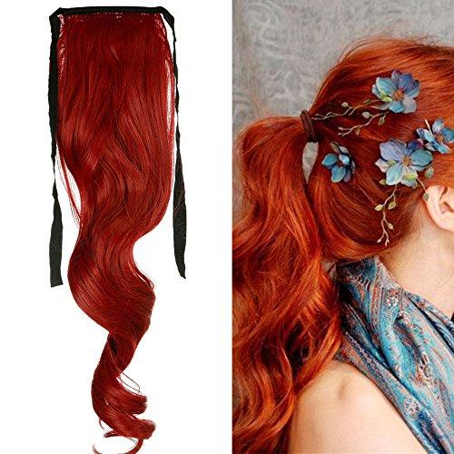 Extension coda di cavallo clip [rosso scuro] capelli mossi veri lunghi ponytail extension ondulata wrap tie up fascia unica 45cm 18