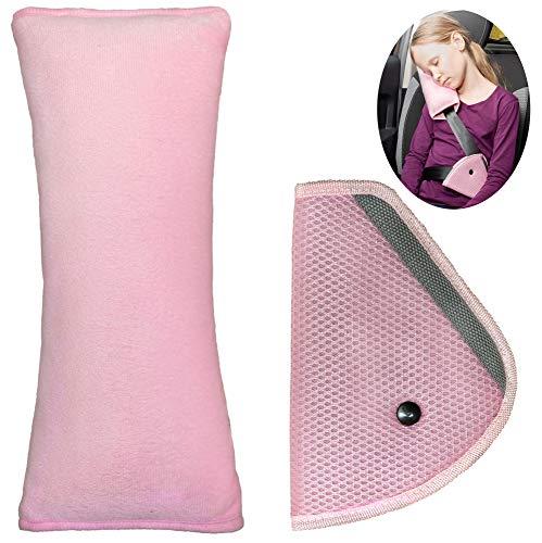 LIONSTRONG Gurtpolster für Kinder, Schlafkissen für das Auto, 100% Schadstofffrei (Rosa)