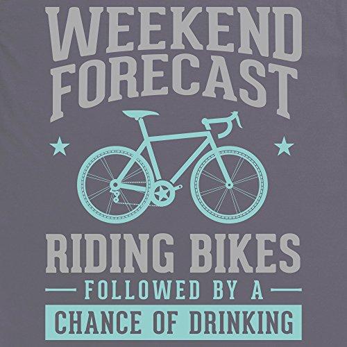 Weekend Forecast Riding Bikes T-Shirt Funny Novelty Gift, Herren Anthrazit