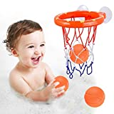 Enthur Bath Toy Fun Basketball Hoop & Balls Set for Boys and Girls Kid & Toddler Bath Toys Gift Set 3 Balls Included
