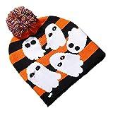 BlackStree Halloween Glowing Knitted Hat Teschio Spirito Indossa Light cap Bambini Adult Hat Party Forniture 24CM x 20CM Fantasma