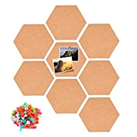 THETAG Cork Board, Self Adhesive DIY Notice Board Multifunctional Application Message Board for Photo Hanging, Home Decoration and Office Memo (8pcs Cork Board+40 Push pins)