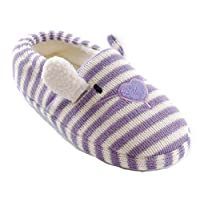 Girls Fun Lilac Stripe Knitted Rabbit Slippers Size 11-12
