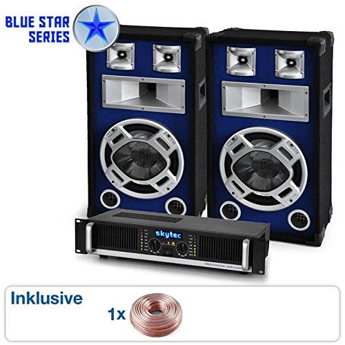PA Set Blue Star Series Beatbass II Party-Anlage 1200 Watt Lautsprecher inkl. Verstärker, Mixer & Kabelset (für 200 Personen, musiksensitiver LED-Lichteffekt, Stereo-Chinch-Anschluss)