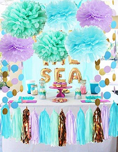 Meerjungfrau Partydekorationen unter dem Meer Thema lila Blaue -