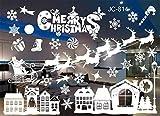 LCXYYY Fensterfolie Weihnachten Schneeflocken Fensterbilder Statisch Haftende PVC-Sticker Weihnachten Fensterdeko Aufkleber WandtattooFensteraufkleber Weihnachten Weiß